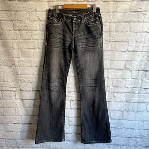 CELLO Flare Leg Black Jeans with Embellishments